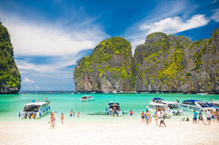 Motor boats on turquoise water of Maya Bay in Koh Phi Phi island, Thailand. royalty free stock image