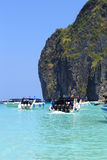 Motor boats on turquoise water of Maya Bay lagoon Royalty Free Stock Image