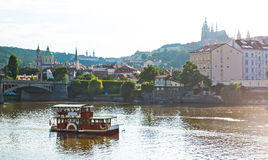 Motor boats in the Vlatva river, Prague Czech. Stock Image