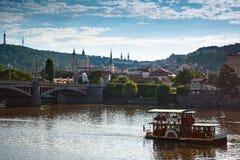 Motor boats in the Vlatva river, Prague Czech. Stock Image