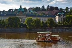 Motor boats in the Vlatva river, Prague Czech. Stock Photos