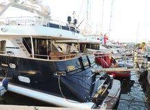 Motor boats in a  yacht harbor Royalty Free Stock Photo
