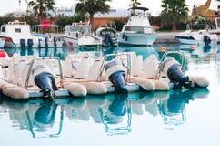 Motor boats and yachts Stock Photo
