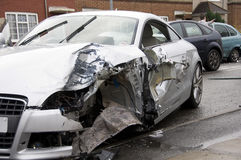 Motor car crash scene UK Royalty Free Stock Images