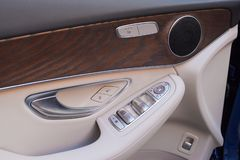 Motor-car door by close-up. Car interior details royalty free stock photography