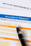 Motor or car insurance accident report form. With pen Stock Photography