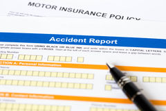 Motor or car insurance accident report form Royalty Free Stock Photo