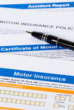 Motor or car insurance application Royalty Free Stock Photos