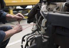 Motor car in repair shop Stock Images