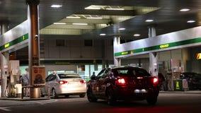 Motor cars on refuelling station. In Kiev, Ukraine, October 30, 2012 stock footage