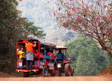 Motor cart. January 7, 2015 in LOIE province, THAILAND: modified diesel engine motor agricultural tractor trailer for passenger transportation using on country Stock Photography