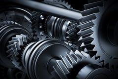 Motor, close-up do motor Engrenagens, rodas denteadas, elementos reais do motor Fotografia de Stock