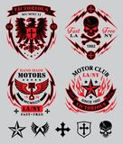 Motor club emblem set. Original motor sport-inspired emblem patch set with coordinating icon elements.  Available in eps vector for easy editing Stock Photos