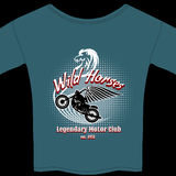Motor Club t-shirt membership design. For the Wild Horses  Legendary Motor Club with a winged motorcycle on a curved projectory with a white horses head Stock Image
