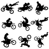 Motor cross freestyle set. Set of motor cross freestyle set vector Royalty Free Stock Images