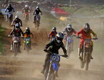Motor cross riders. Royalty Free Stock Photos
