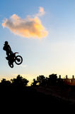 Motor Cross with silhouette Royalty Free Stock Photo