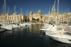 Motor cruisers and yachts in Vittoriosa, Malta. Motor cruisers and yachts in Vittoriosa. Mediterranean island of Malta Stock Photos