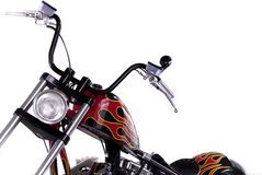 Motor Cycle. Custom Built motor Cycle with chrome, and custom painted flames on the entire frame Royalty Free Stock Photos