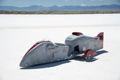 Motor cycle at Bonneville Speedway. A high performance sidecar motor cycle at Bonneville Speedway, during Speedweek 2013 Royalty Free Stock Photos