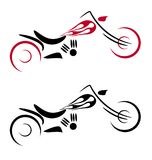 Motor cycle with fire logo. Drawing of stylish chopper motorcycle with fire Royalty Free Stock Images