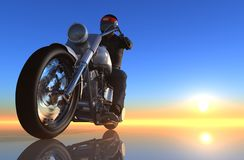 Motor cycle on a mirror background Stock Photo