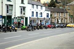Motor cycle parking, Matlock Bath, UK. Stock Photos