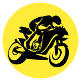 Motor cyclist silhouette Stock Photography