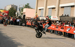 Motor cyclists KTM bikers perform stunts ,Hyderabad Royalty Free Stock Photo