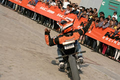 Motor cyclists KTM bikers perform stunts ,Hyderabad Stock Image