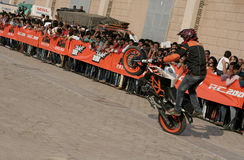 Motor cyclists KTM bikers perform stunts ,Hyderabad Stock Photography