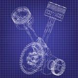 Motor da motocicleta em um azul ilustração royalty free