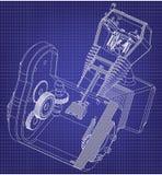 Motor da motocicleta em um azul ilustração stock