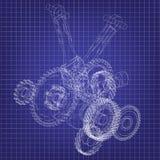 Motor da motocicleta em um azul ilustração do vetor