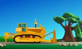Motor da terra da escavadora na floresta ilustração do vetor