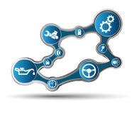 Motor de automóveis com ícones ilustração royalty free