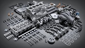 Motor de automóveis desmontado Muitas peças fotos de stock