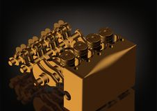 Motor de automóveis desmontado ouro em um preto fotografia de stock