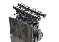 Motor de automóveis preto e de prata em um branco fotos de stock
