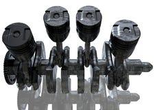 Motor de automóveis preto e de prata em um branco fotos de stock royalty free