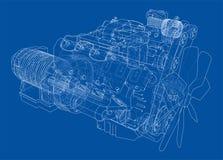 Motor de automóveis Rendição do vetor de 3d Imagem de Stock Royalty Free