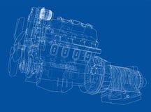 Motor de automóveis Rendição do vetor de 3d Imagens de Stock