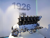 motor de BMW VI de 12 cilindros en la exhibición en el museo de BMW Fotografía de archivo