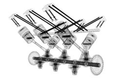 motor de coche del seis-cilindro 3D, wireframe, fondo blanco libre illustration