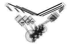 motor de coche del seis-cilindro 3D, wireframe, fondo blanco ilustración del vector