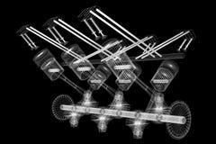 motor de coche del seis-cilindro 3D, wireframe, fondo negro stock de ilustración