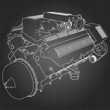 Motor de coche potente de V8 El motor se dibuja con las líneas blancas en una hoja negra en una jaula Fotos de archivo libres de regalías