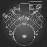 Motor de coche potente de V8 El motor se dibuja con las líneas blancas en una hoja negra en una jaula Imágenes de archivo libres de regalías