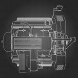 Motor de coche potente de V8 El motor se dibuja con las líneas blancas en una hoja negra en una jaula Foto de archivo