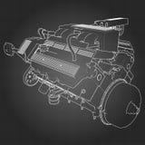 Motor de coche potente de V8 El motor se dibuja con las líneas blancas en una hoja negra en una jaula Fotos de archivo